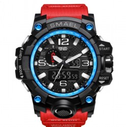 4.5cm Waterproof Outdoor Multifunctional Sports Men's Digital Watch-black mix blue & red
